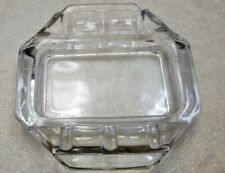 VINTAGE CRYSTAL CLEAR GLASS HEAVY DUTY ASHTRAY