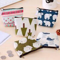 Women Small Canvas Purse Zip Wallet Coin Case Bag Handbag Key Holder Wallet Gift