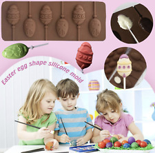 6 x Silicone Easter Eggs Bunny Lollipop Chocolate Mould Ice Cube Jelly Lolly