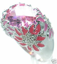 David Sigal Solid 925 Sterling Silver Enamel Floral Pink Crystal Ring Sz-7 '