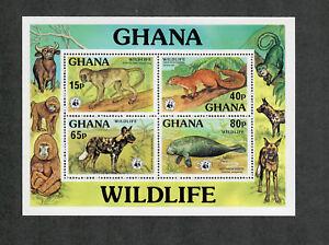 Ghana Sc#621-624, 625 M/NH/VF, Complete Set Wildlife WWF, Cv. $60
