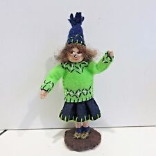 "NFL Seattle Seahawks Hand Made 12th Man, Good Luck Girl Fan 4.75"" Tall"
