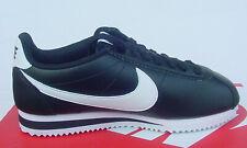Nike Mujer Zapato Blanco y Negro Clásico Cortez Cuero 807471-010 Talla 6.5 -10