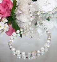Halskette Kette Glasperlen mit Glaswürfel crash weiß Modeschmuck  351L