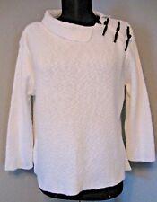 Willow Sweater Size Medium White with Black Trim Split Collar Cotton ? #1415