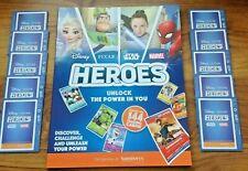 Sainsbury's Heroes Album  (Marvel,Disney,Star Wars)  & 10 Sealed Packs of Cards.