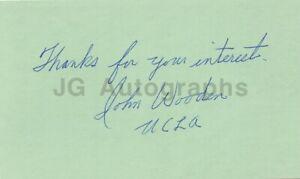 John Wooden - Iconic UCLA Basketball Coach - Signed 3x5 Card