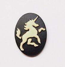 6 of 18x13 mm Cream over Black Unicorn Horse Prancing Cameo 4 Pendants, Earring