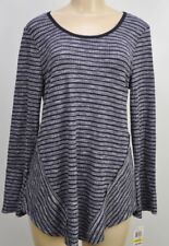 Style & Co. Striped Long Sleeve Ribbon Lace Knit Top Size Medium Tunic New v