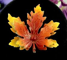 Autumn ENAMEL Double LEAVES BROOCH Vintage PIN Fall Colors Brown Orange Yellow