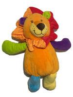 "Gitzy Lion Plush Colorful 14"" Rattles Orange Red Blue Rainbow Stuffed Animal Toy"