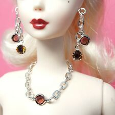 S859 Silkstone Barbie Fashion Royalty Doll Jewelry brown crystal & silver