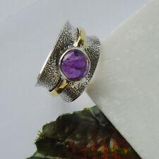 Amethyst lila vergoldet modern Design Ring Ø 18,75 mm 925 Sterling Silber neu