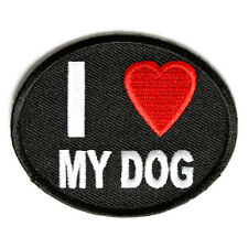 Embroidered I Love My Dog Iron on Sew on Biker Patch Badge