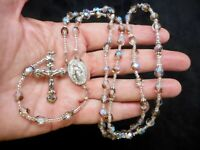 Vintage Silver Seed Bead w/Clear & Taupe Art Glass Beads Crystal Bead Rosary F