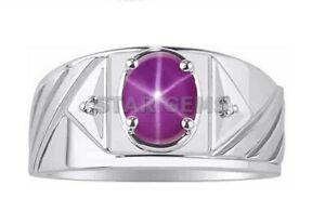 Landy Star Ruby Gemstone Ring For Men Engagement Ring 925 Sterling Silver Ring