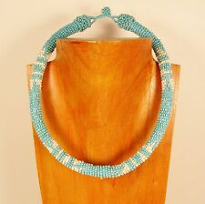 """18"""" Turquoise Blue Color Handmade Seed Bead Rope Style Necklace"""