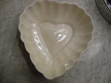 Belleek Parian China Heart salt /dish Green  Mark, Ireland,