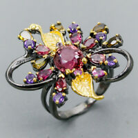 Super top AA 10x8mm Natural Tourmaline 925 Sterling Silver Ring Size 10/R125323
