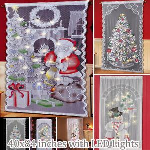 Door Curtain Christmas Pattern Santa Xmas Tree Lace Curtain with LED Light Decor