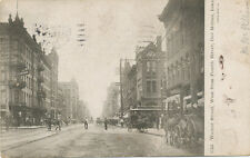 Des Moines IA * Walnut St. 1907 View * Horse Drawn Wagons