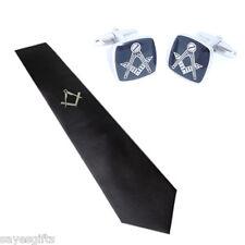 SILVER massonica design stampato SENZA G su Nero Cravatta e gemelli