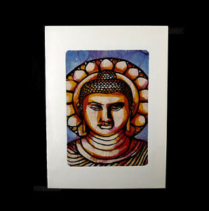 Painting Card Postcard Batik Bust Of Buddha India B10