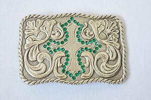 New Enmon Engraved Green Rhinestone Cross Western Belt Buckle Silver