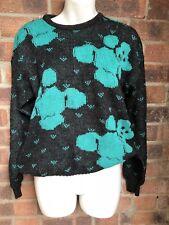 VINTAGE Angora Mix Teddy Bear Wool Knit Jumper - Size 14 Grey & Turquoise Vtg