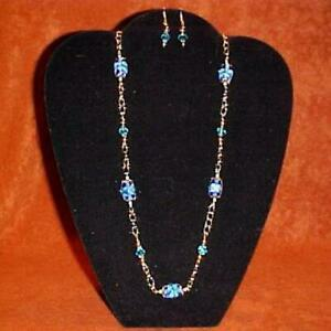 Handcrafted Blue Spring, Lampwork, Crystal Glass & Gold Plated Beads & Chain
