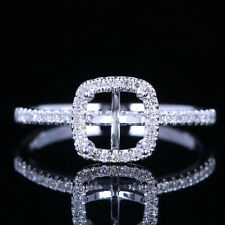 10K WHITE GOLD 6x6MM CUSHION NATURAL DIAMONDS SEMI MOUNT ENGAGEMENT WOMEN RING