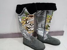 Don Ed Hardy Boots Silver Snowblazers Women's size 8M