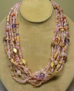 JOAN RIVERS GOLD EP PINK GLASS SEED BEAD 9 STRAND TORSADE NECKLACE NEW