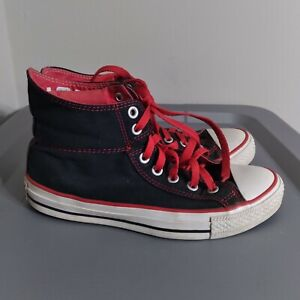 Converse All Star Chuck Taylor Youth Boys Size 5.5 Shoes High Black/Red Sneakers