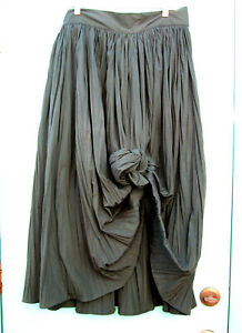 """Romeo Gigli G green cotton blend skirt VTG Italy 1980s Shown knotted 32""""W"""