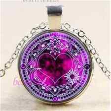 Magic Circle Pentagram Cabochon Glass Tibet Silver Chain Pendant Necklace