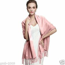 Women's Winter Rubber Pink Pashmina 100% Cashmere Solid Tassel Shawl Wrap Scarf