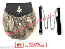 NEW SCOTTISH CELTIC SEMI DRESS GREY SPORRAN THREE 3 TASSLES RABBIT FUR MASONIC