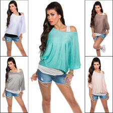 Batwing Top Blouse 2in1 T-shirt Loose Fit Koucla - Black, White, Grey, Coral