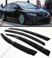 FOR 2006-11 8TH GEN CIVIC SEDAN WAVY SMOKE WINDOW VISOR RAIN/SUN SHADE W/ TAPE