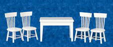 Tavolo in Legno Bianco & quattro sedie, dolls House Miniature, Mobili in miniatura
