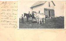 PHOTO OF HORSES ADD-ON LACOMB ALBERTA CANADA TO USA POSTAL CARD 1914