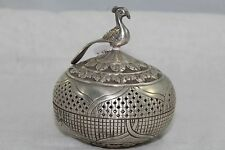 Traditional Handmade 92.5 Hallmarked Sterling SILVER Trinket Box Peacock Bird