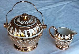 JAMES SADLER GOLD TRIM LEAF DESIGN LIDDED COOKIE JAR W/ HANDLE & MILK/CREAM JUG