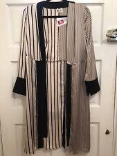 New ladies Stylish Belted Long Line Striped Beige Kimono Coats Size 10