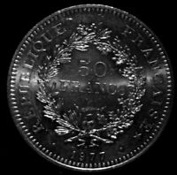 1977 France  50 Francs  Very Large Silver Coin UNC/PL condition . re6b A50-163