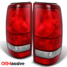 Fit 99-02 Silverado 99-03 Sierra Red Clear Tail Lights Brake Lamps Replacement