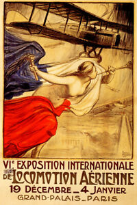 AIRPLANE AVIATION EXPOSITION INTERNATIONALE PARIS FRENCH VINTAGE POSTER REPRO