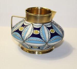 Antique Russian Silver 84 EK. silver Enamel For Milk Creamer, 226.7 grams