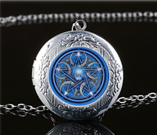Wicca Pentagram Photo Glass Tibet Silver Chain Locket Pendant Necklace#u27